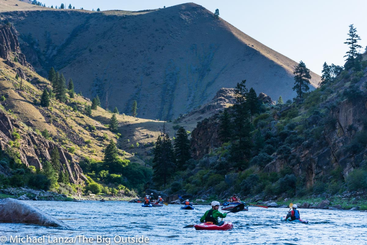 Rafts and kayaks on Idaho's Middle Fork Salmon River.