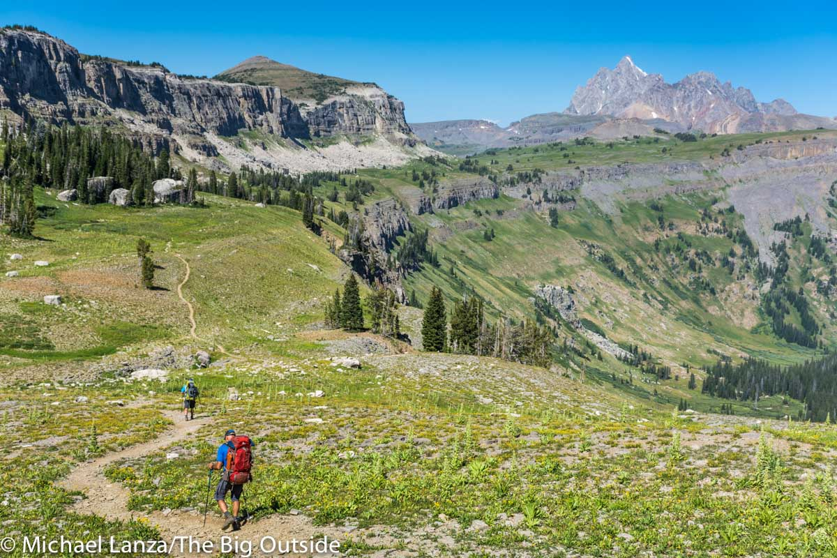 Backpackers on the Teton Crest Trail in Grand Teton National Park.