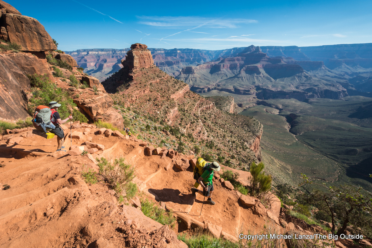 Backpackers on the South Kaibab Trail in the Grand Canyon.