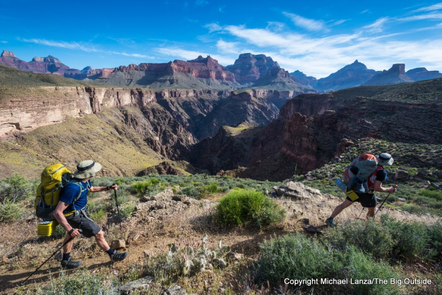 Backpackers on the Tonto Trail in the Grand Canyon.