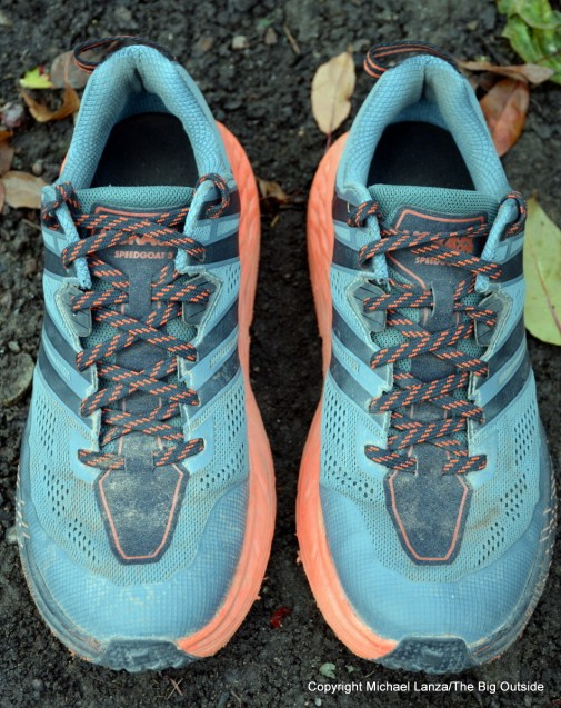 Hoka One One Speedgoat 3 trail-running shoes.