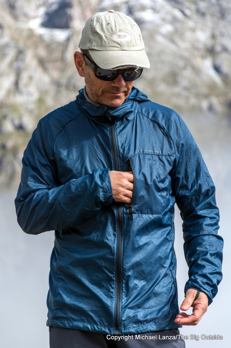 The Black Diamond Distance Wind Shell front pocket.