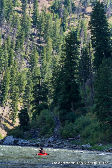A kayaker on Idaho's Middle Fork Salmon River.