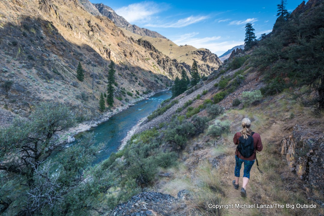 A hiker on the Middle Fork Salmon River Trail, Idaho.