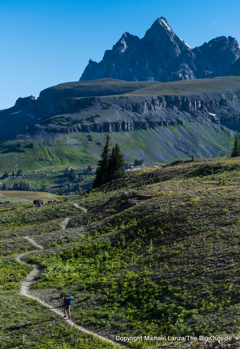 A backpacker on the Teton Crest Trail in the Jedediah Smith Wilderness.