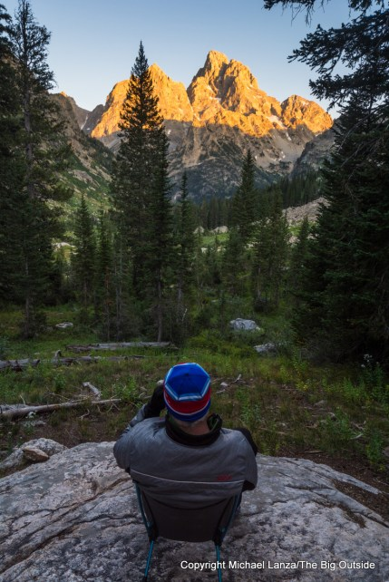 Watching the sunset from a campsite in the North Fork Cascade Canyon, Grand Teton National Park.