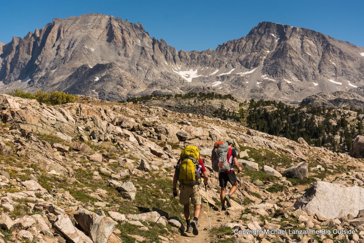 Backpackers hiking to Island Lake in Wyoming's Wind River Range.
