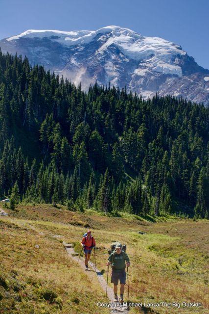 Backpackers in Moraine Park on the Wonderland Trail, Mount Rainier National Park.