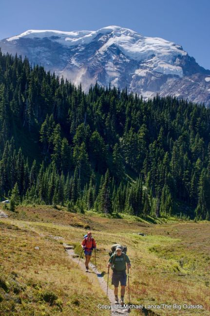 Backpackers in Moraine Park on the Wonderland Trail, Mount Rainier National Park.