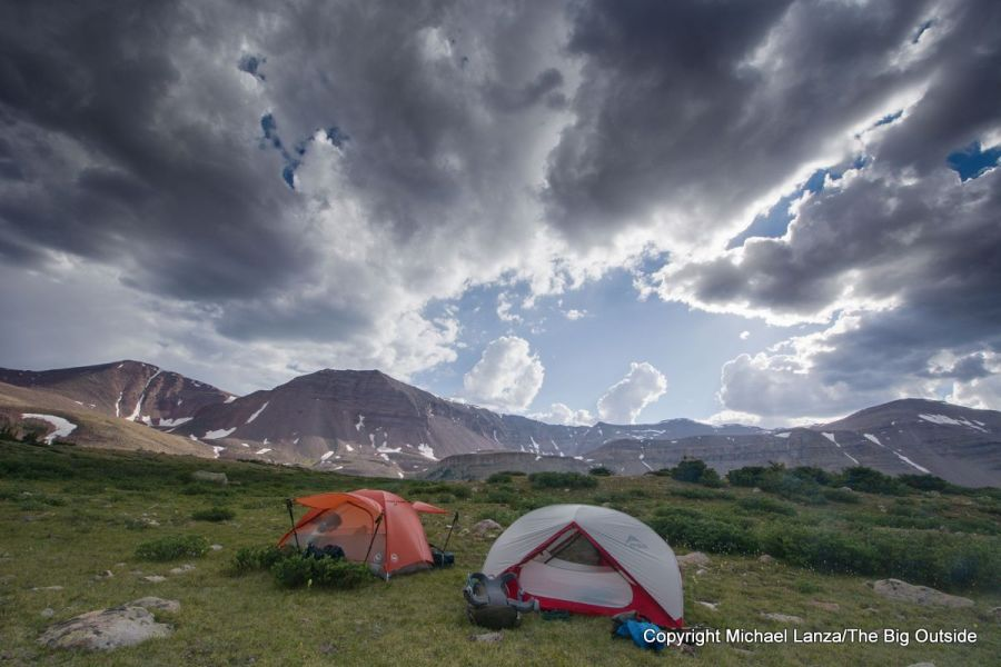 A campsite in Painter Basin below 13,538-foot Kings Peak (right), High Uintas Wilderness, Utah.