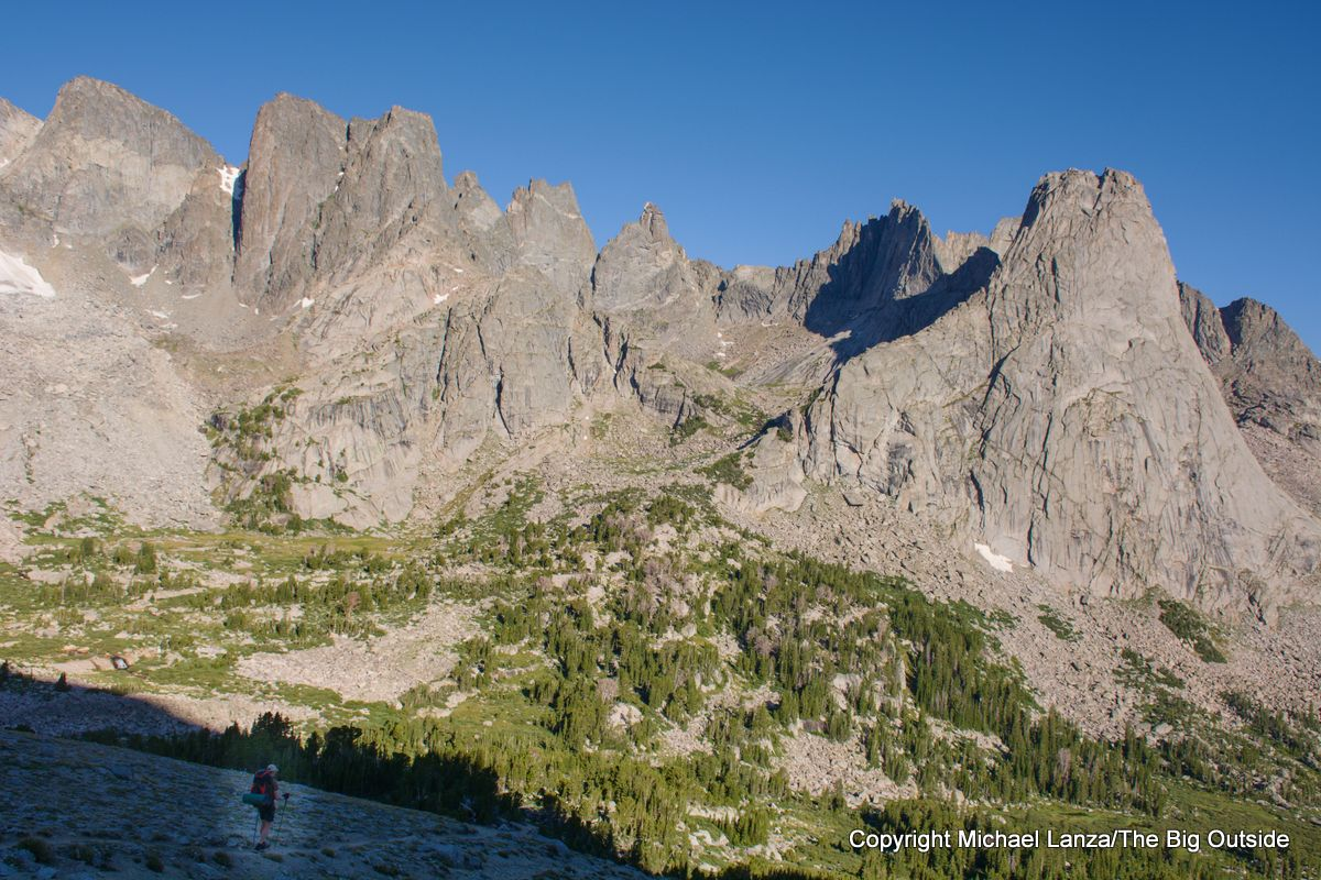 A backpacker hiking into the Cirque of the Towers on Wyoming's Wind River High Route.