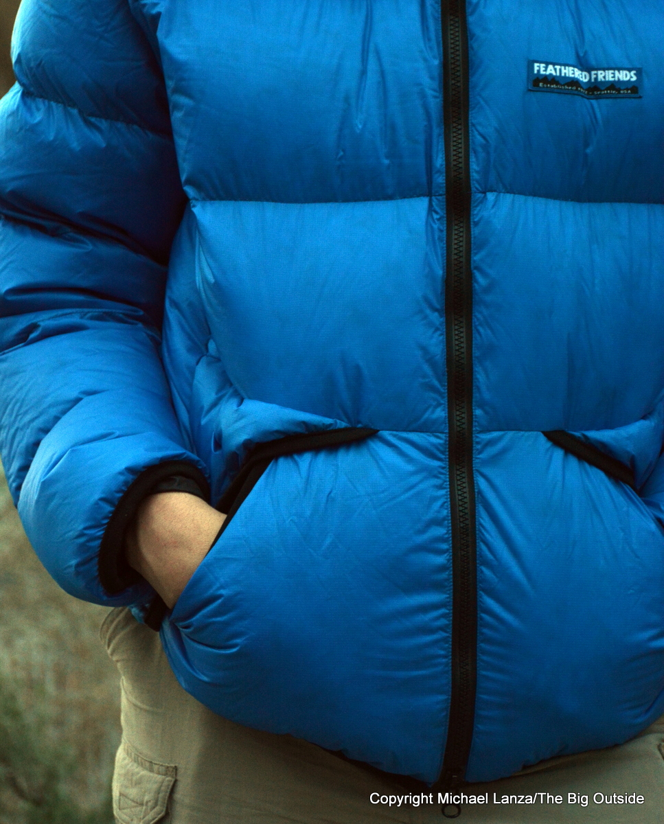The Feathered Friends Helios Hooded Down Jacket.