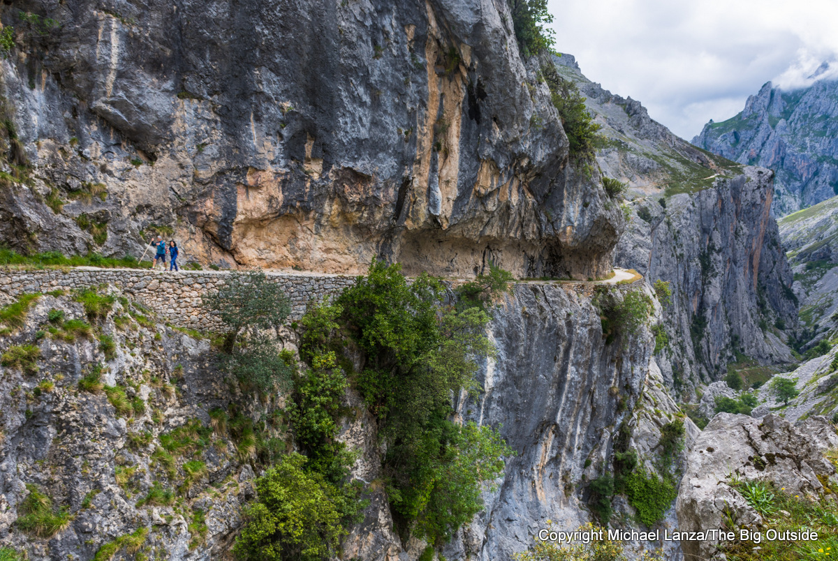 Hikers in the Cares Gorge, Picos de Europa National Park, Spain.