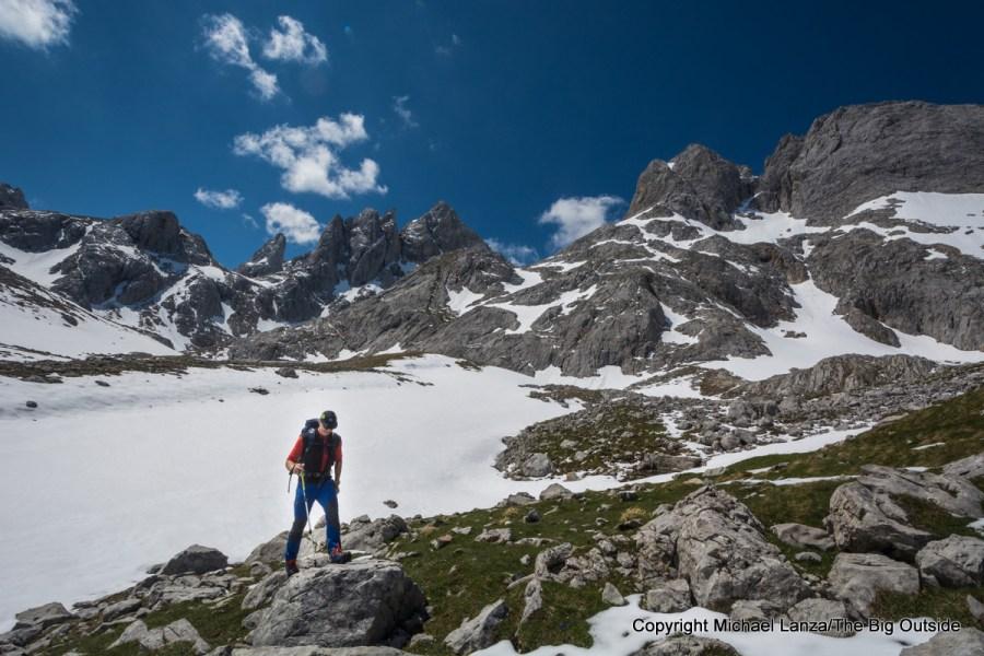 A hiker in Spain's Picos de Europa National Park.