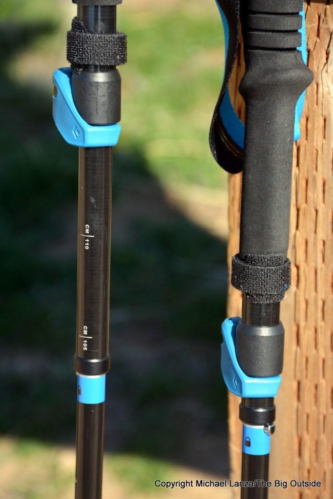 Black Diamond Distance Carbon FLZ Poles FlickLock levers.