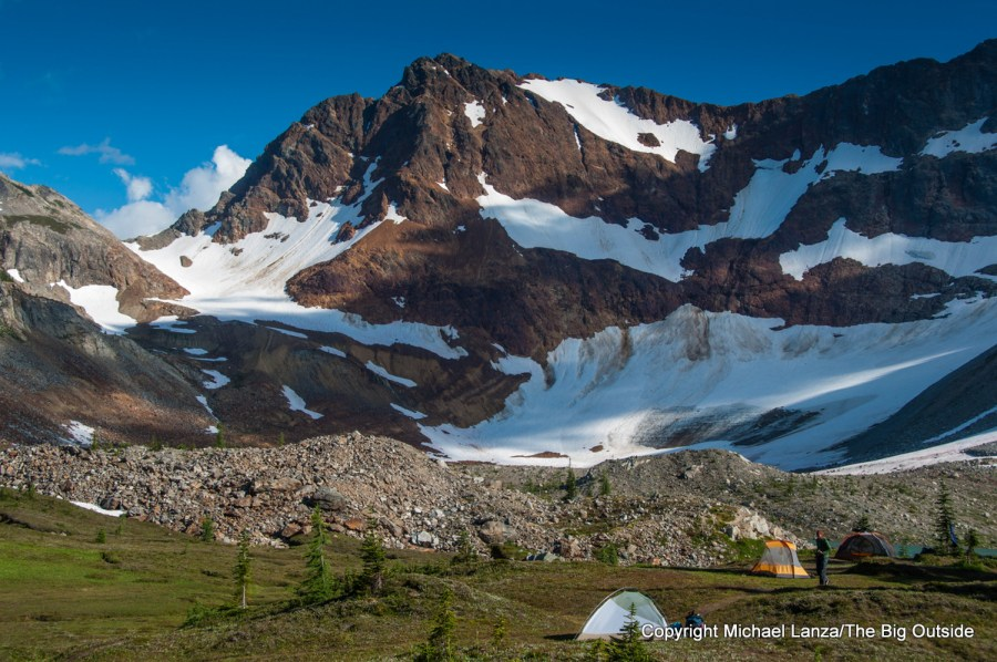 A campsite at Upper Lyman Lakes, Glacier Peak Wilderness, Washington.