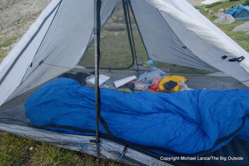 The Hyperlite Mountain Gear Dirigo 2 ultralight backpacking tent in the Wind River Range.