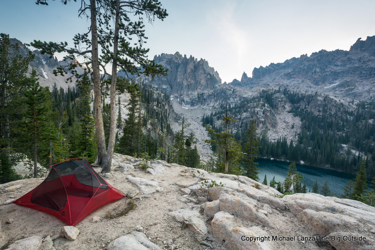 A campsite at the Baron Lakes in Idaho's Sawtooth Mountains.