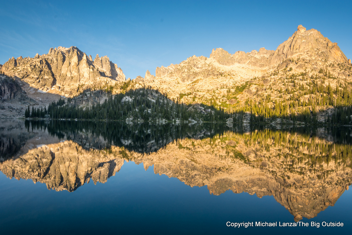 Dawn light on Baron Lake in Idaho's Sawtooth Mountains.