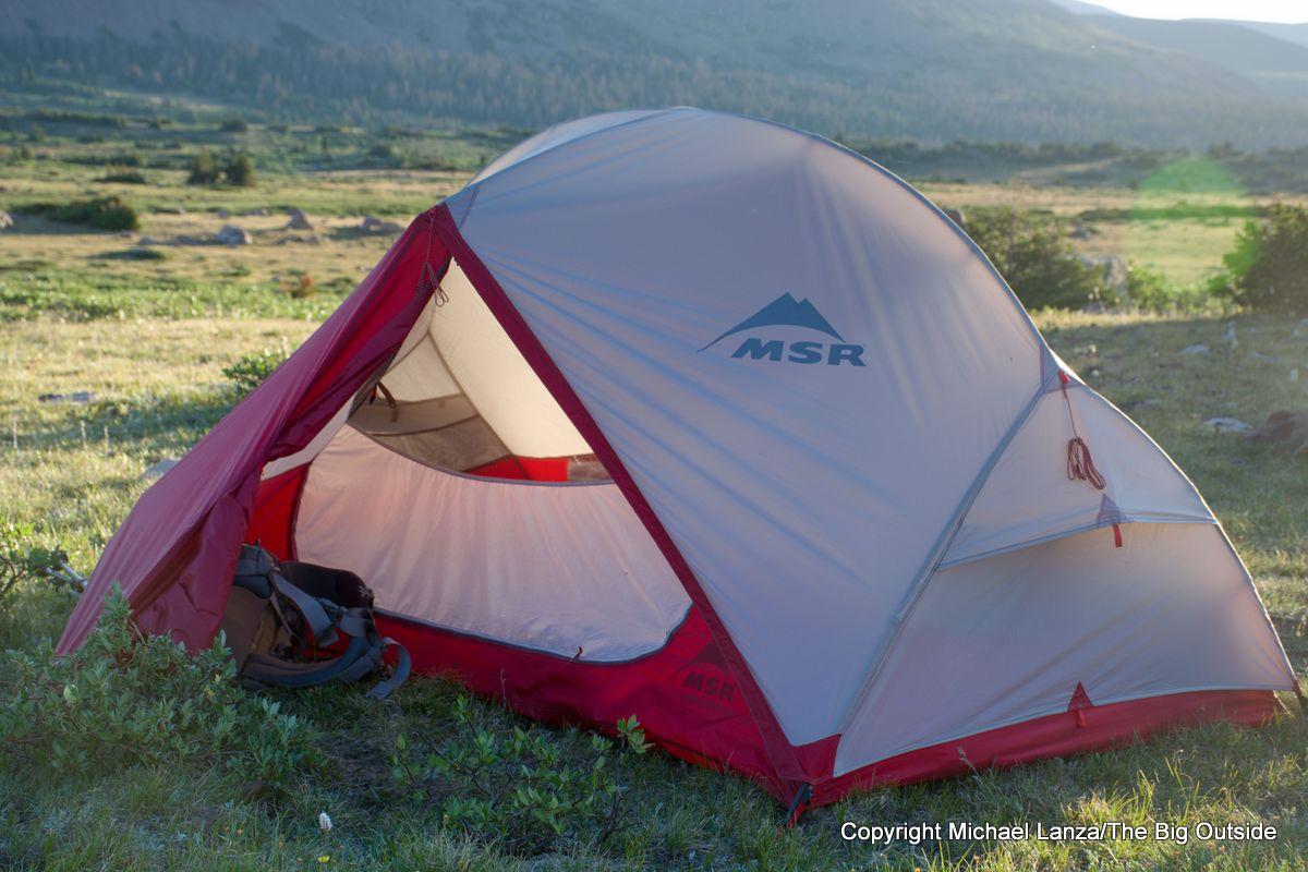 The MSR Hubba Hubba NX 2-person tent vestibule.