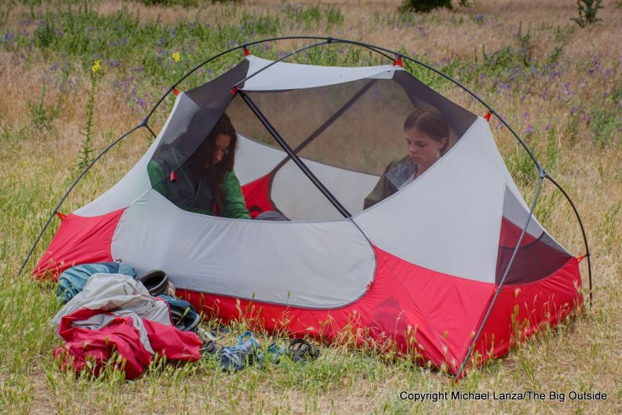 The MSR Hubba Hubba NX 2-person tent with rainfly off.