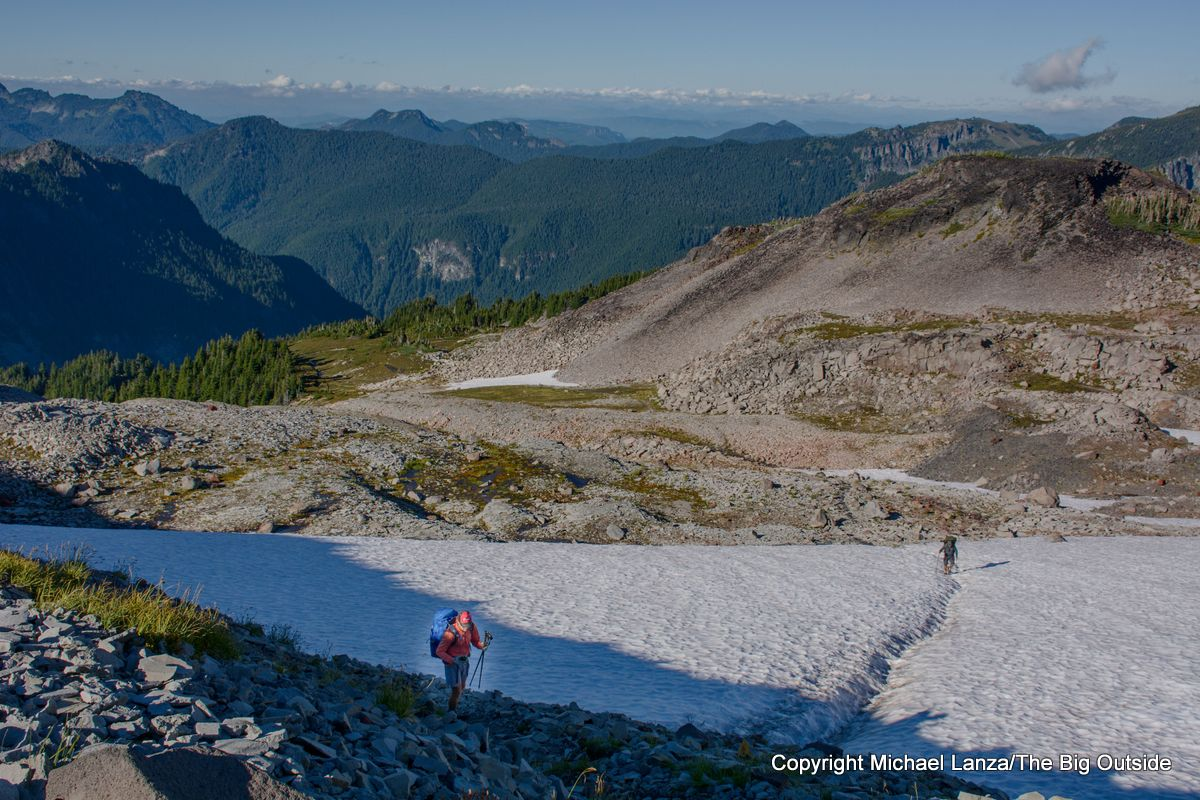 Backpackers on the Spray Park Trail, Mount Rainier National Park.