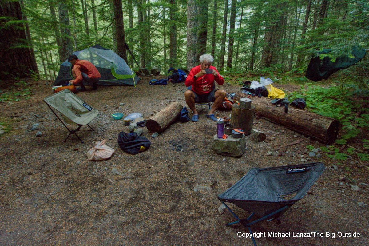 Backpackers in North Puyallup camp on the Wonderland Trail, Mount Rainier National Park.
