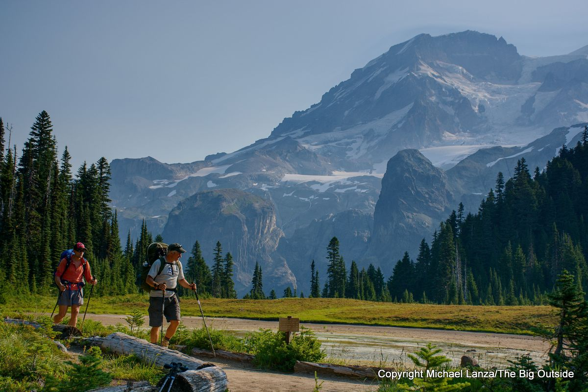 Backpackers in Klapatchie Park on the Wonderland Trail, Mount Rainier National Park.