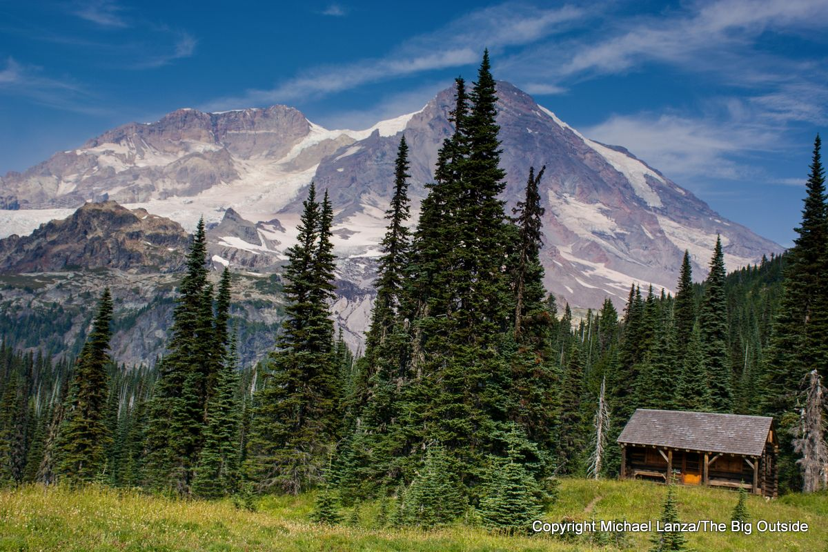 The patrol cabin on the Wonderland Trail in Indian Henrys Hunting Ground, Mount Rainier National Park.
