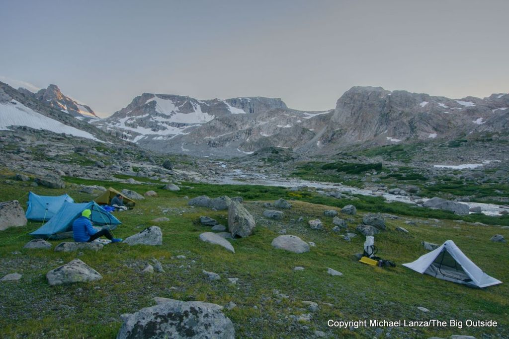 Backpackers with ultralight tents on the Wind River High Route.