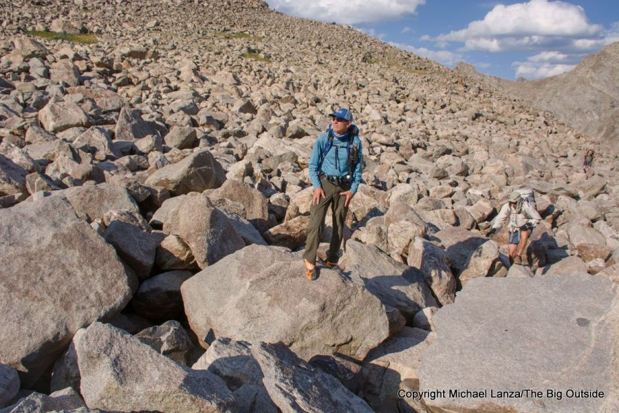 Backpackers hiking toward 11,600-foot Raid Peak Pass on the Wind River High Route.