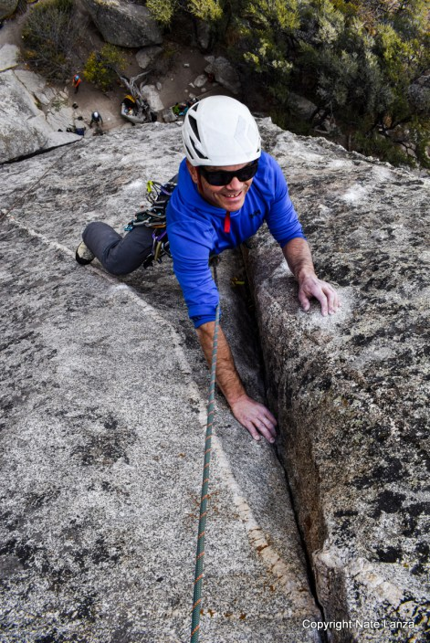 Michael Lanza of The Big Outside rock climbing at Idaho's City of Rocks.