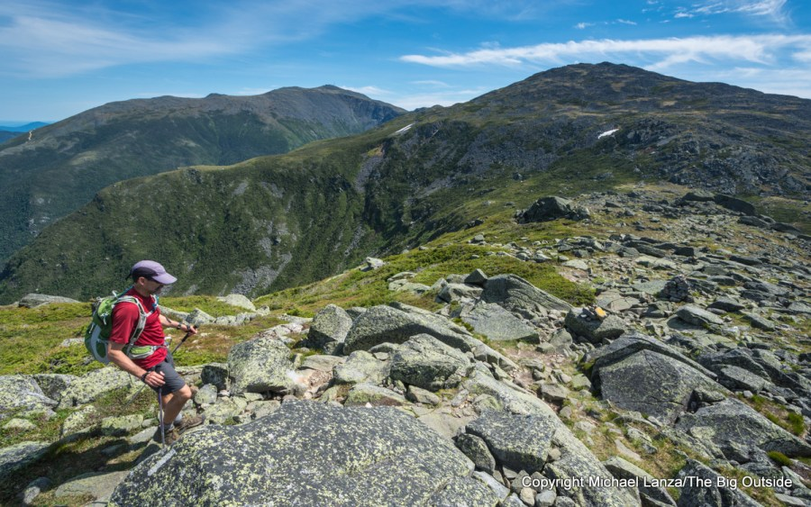 A hiker in the Northern Presidential Range in New Hampshire's White Mountains.