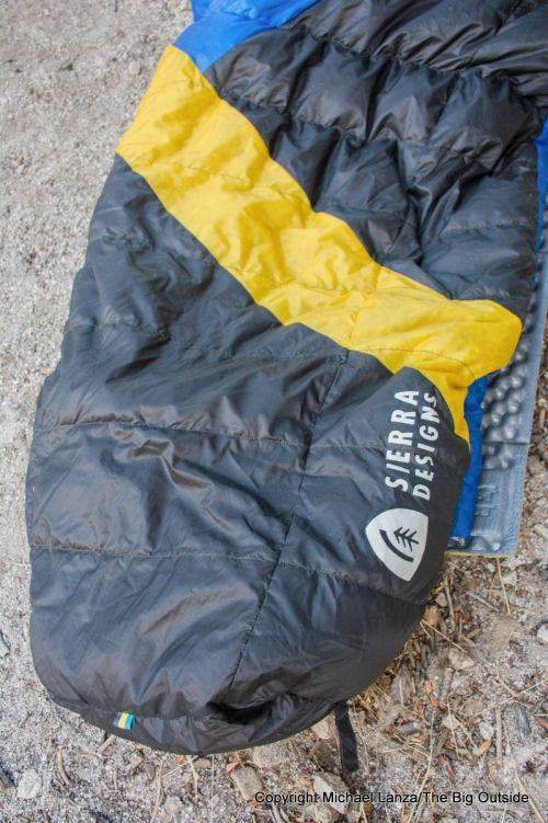 The Sierra Designs Cloud 800 35-Degree sleeping bag foot box.