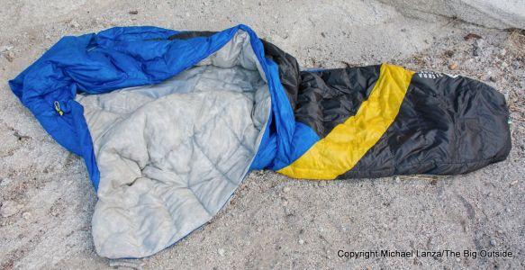 The Sierra Designs Cloud 800 35-Degree sleeping bag.