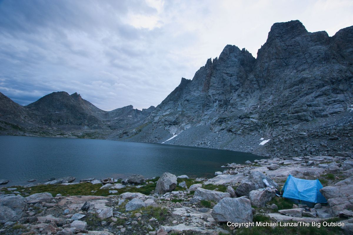 A backpacker camp in the Bonneville Lakes basin on the Wind River High Route.