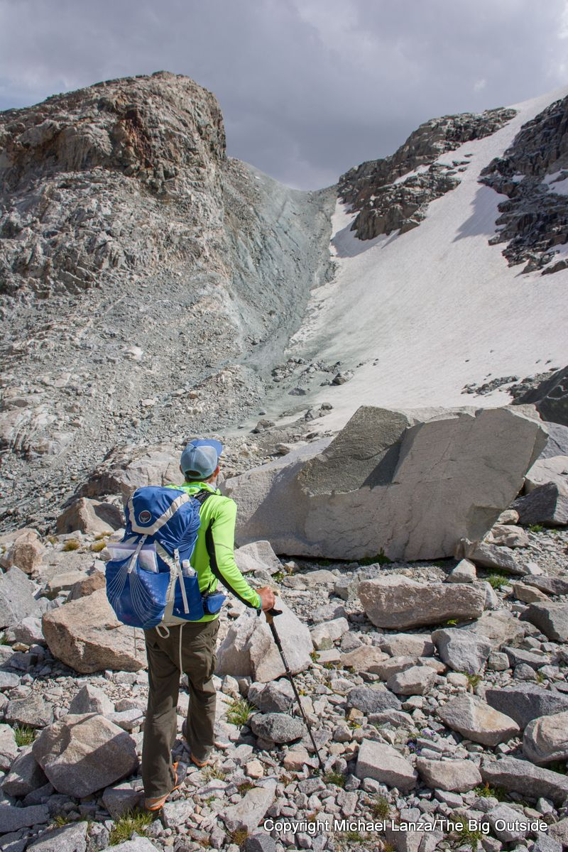 A backpacker north of the Gannett Glacier on the Wind River High Route.