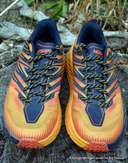 The Hoka One One Speedgoat 4 shoes.