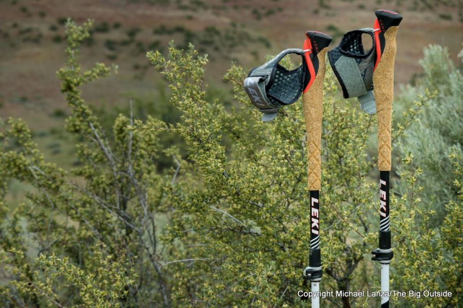 Leki MC 12 Vario trekking and running poles.