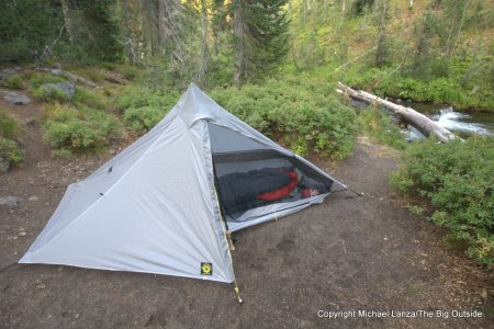 The Six Moon Designs Lunar Solo ultralight backpacking tent in Bechler Canyon, Yellowstone National Park.