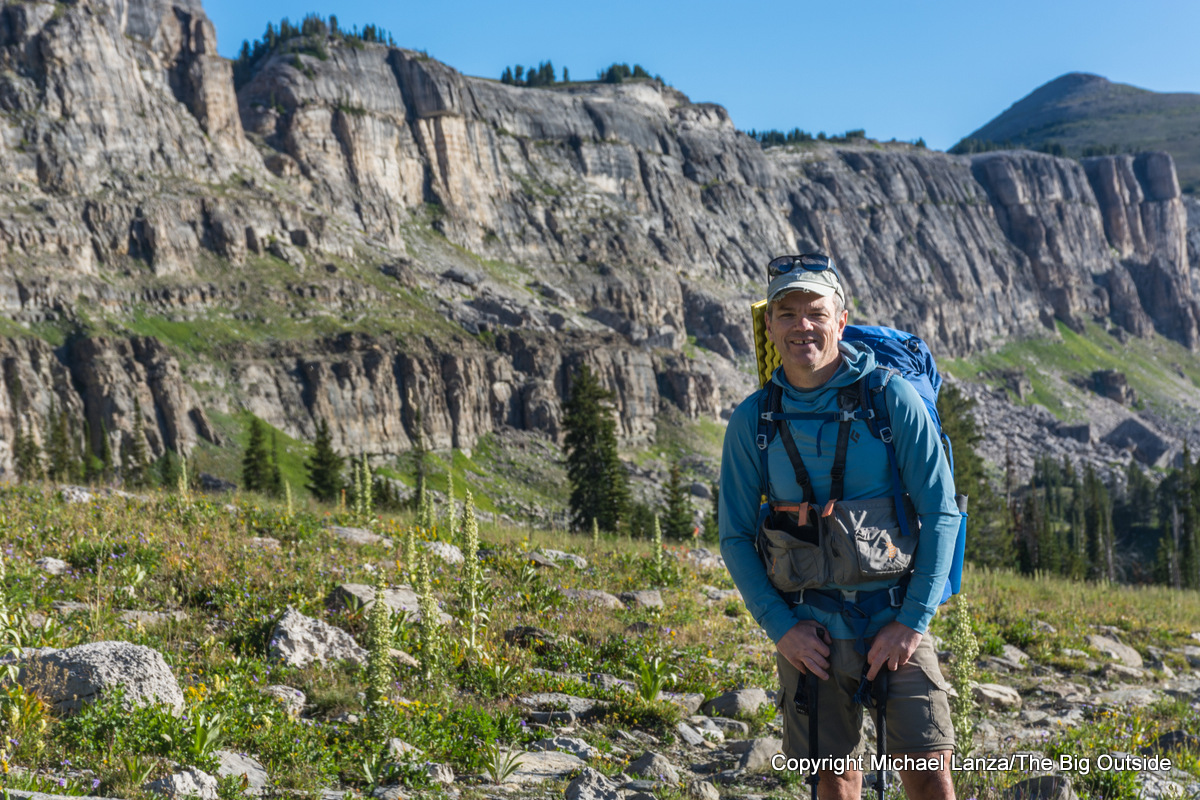 Michael Lanza of The Big Outside backpacking the Teton Crest Trail on Death Canyon Shelf, Grand Teton National Park.
