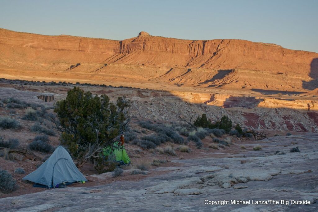 A backpackers' campsite in the Maze District, Canyonlands National Park.