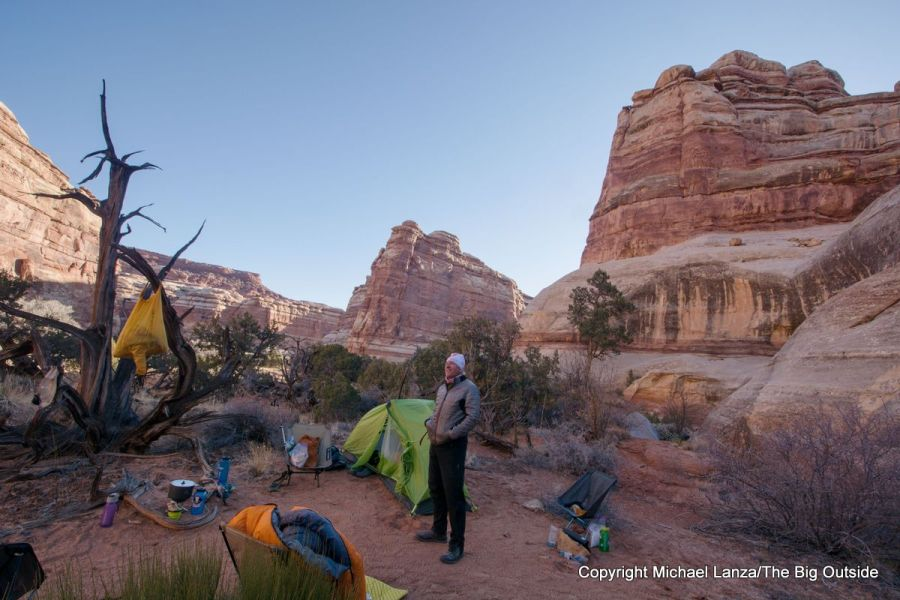A backpacker at a campsite in the Maze District, Canyonlands National Park.