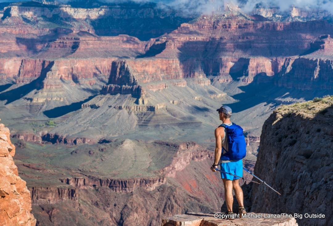 A hiker near Skeleton Point, South Kaibab Trail, Grand Canyon.