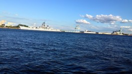 Acroos the river- the USS New Jersey