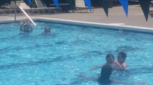 The cousins having a swim.