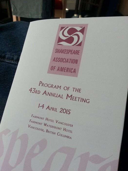 Program for the Shakespeare Association of America's annual conference
