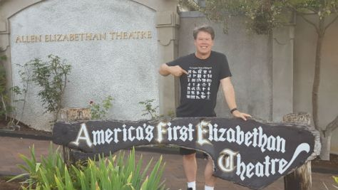 Me, outside the Elizabethan Theater at Ashland's Oregon Shakespeare Festival (rockin' my GoodTickleBrain tee)