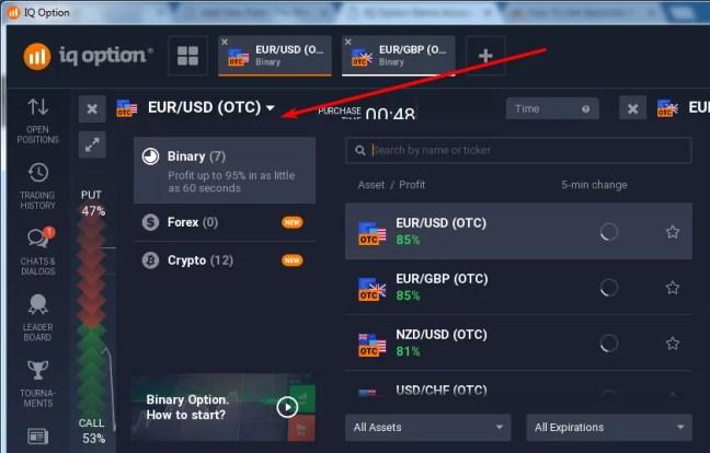 Selecting IQ Option Trading Options