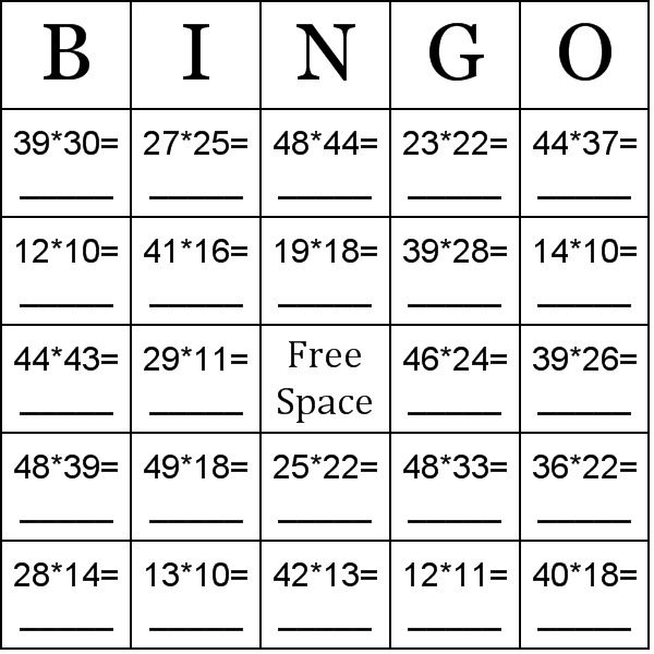 Math Bingo Games Printable Math Games Bingo Printable